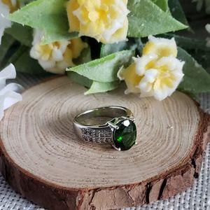 Chrome Diopside White Topaz S/S Ring